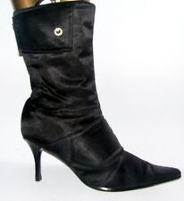 Size 8 Black Shiny Patent Mid Calf High Heels Boots Shoes