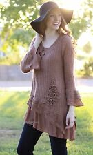 Pretty Angel Clothing Rozz Pretty Ladies Sweater Knit Shirt Dress In Brown 10966