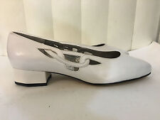 Ros Hommerson Mallory Brown/Bone/White Leather Classic Heel Shoes Wide/Wide With