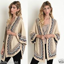 Umgee USA Oversized BOHO Aztec Jacquard Dolman Knit Cardigan Sweater Natural S-L