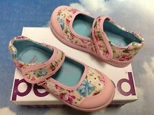 Pediped Flex Bree Pink Floral Hook & Loop Mary Janes Size 23 /US Toddler Size 7