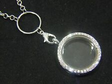 Living Memory Locket + Chain For Floating Charms Glass Round Necklace Pendant