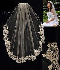 Alencon Lace Edge Fingertip Length Bridal Veil White Ivory Diamond White