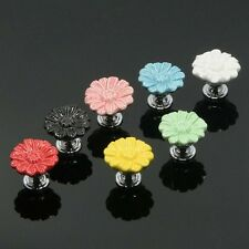Flowers Ceramic Kitchen Cabinet Door Pull Handles Cupboard Knobs Closet Puller