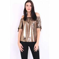 Womens Cut Out Shoulder Metallic Bardot Top With Tie Knot Sleeve Size 6-14