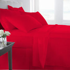 1000TC BLOOD RED SOLID AMERICAN BEDDING SHEETS COLLECTION 100% COTTON - BR