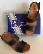 White Mountain Motor Womans Wide Strap Buckle Black Leather Sandal S/10M DISPLAY