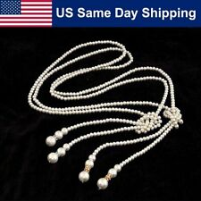 Gatsby Stylish Flapper Style Lariat Imitation Pearl Knotted Deco Necklace