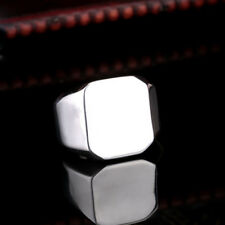 Jewelry Mens Womens Simple Smooth Square 316L Stainless Steel Ring Sz 7-13