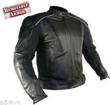 B9119 Men's Cowhide Leather Reflective Armored Padded Black Motorcycle Jacket