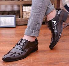 New Mens patent leather formal wedding shoes lace up pointy toe casual shoes