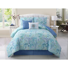 Modern Blue Paisley Reversible 5-PC Comforter Set King Full/Queen