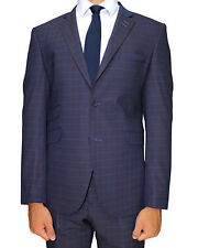 Navy Check Superior Semi Slim Fit Suit with Double Pocket Detail