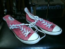 Converse All Star red high top sneakers, PUNK ROCK skater shoes BEAT worn