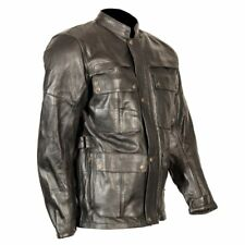 NEW Mens BLACK LEATHER Motorcycle Jacket Belstaff style with CE armour and vents