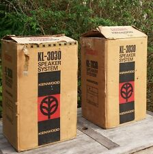 Vintage Retro Boxed Teak Kenwood Speakers KL-3030 Japan Hi-Fi Floor Standing