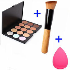 New 15 Colors Face Cream Makeup Concealer Palette Sponge Powder Brush DE