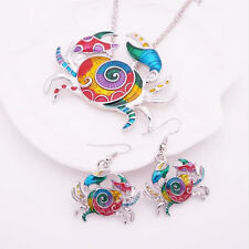 Crab Jewelry Sets Colorful Fashion Necklace Gift Earring 1 sets Silver Plated