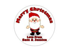 24 Personalised Round Christmas Stickers/Labels 3FOR2 Happy Merry Xmas Present 2