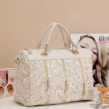 Fashion Korean Lace Women PU Leather Messenger Bag Tote Vintage Beautiful Hot