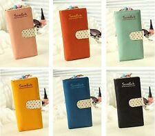 Ladies Cute Polka Dot Paragraph Multi-card Bit Long Retro Zipper Wallet BG