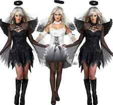 New Halloween Costume Fallen Angel With Wings Halo Women Adult Party Dress 2016
