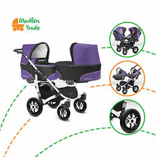 Double Twin 3IN1 Duo Pram Twinni Tandem Pushchair Stroller Buggy + 2Two Car Seat