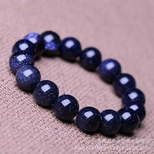 100% Natural Gemstone Blue Sand Stone Beads Woman Man jewelry Bracelet
