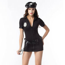 Ladies Cop Police Officer Uniform Fancy Dress Halloween Outfit Costume & Hat