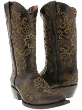 Women's brown beige all real leather cowboy cowgirl boots rodeo new ranch