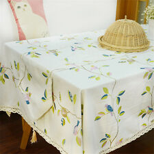 Home Cotton Linen Table Cloth With Green Leaves Bird Rectangular Tablecloths