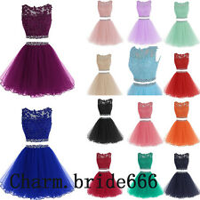 Two Piece Short Formal Evening Gown Bridesmaid Dress Wedding Party Dress Sz 6-18