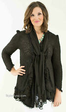 Pretty Angel Clothing Phoebe Ladies Layered Sweater Cardigan In Black 81389