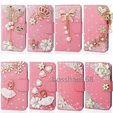 Magnetic Bling Crystal Diamonds PU leather flip wallet  case cover for LG