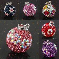 Crystal Rhinestone 925 Sterling Silver 14mm Ball Bead Charm Pendant Fit Necklace