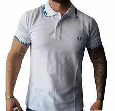 Men's Slim-Fit Twin Tripped Pique White Polo Shirt FRED PERRY