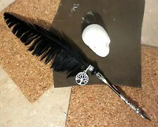 """FEATHER Pen """"Ravens Wing"""" Ink Dip METAL NIB Porcupine Quill Black STEAMPUNK BOS"""