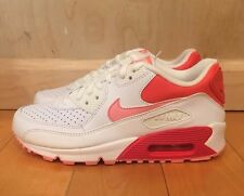 NIKE AIR MAX 90  WHITE CORAL RUNNING GIRLS GS SZ 4-7 Y  345017-161