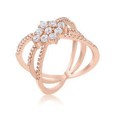Mindy 0.8ct CZ Rose Gold Rhodium Plated Delicate Geometric Triple Wrap Ring