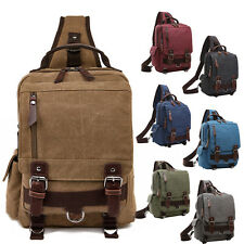 Unisex Men's Retro Canvas Leather Backpack Travel Messenger Bag Shoulder Bag