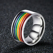 NEW Gay Lesbian LGBT Pride Stainless Steel Rainbow Striped Ring Band Size 7-12