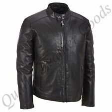 MEN GENUINE LEATHER JACKET BIKER BLUF ROCK PUNK FRONT ZIP HARLEY 10J