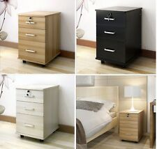 Wooden 3 Drawer Bedside Lamp Table Home Office Filing Document Storage Cabinet
