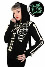 Banned Women's Glow in the Dark Skeleton Hoodie With Long Hood Sweatshirt