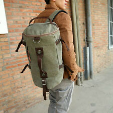 Vintage Men Leather Canvas Travel Backpack Luggage Duffle Bag Weekend Overnight