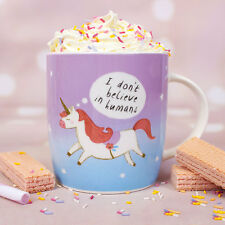 Unicorn Mug I Don't Believe In Humans Boxed Novelty Mug Pink Girls Magical GIFT