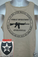 2nd I.D. TANK TOP/ T-SHIRT/ AFGHANISTAN COMBAT OPS / MILITARY TAN / ARMY / NEW