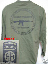 82nd AIRBORNE RANGER LONG SLEEVE T-SHIRT/AFGHANISTAN COMBAT OPS/ MILITARY/   NEW