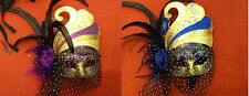 BLUE LADIES MASQUERADE FACE MASK WITH VEIL AND FEATHERS PARTY PROPS FANCY DRESS