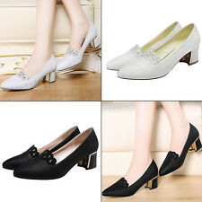 Women's Sexy Pointed Toe Solid Color Casual Low Mid Kitten Heels Single Shoes PU